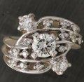 ダイヤ立て爪リング(指輪)、ダイヤファッションリングで1本のダイヤリングにリフォーム